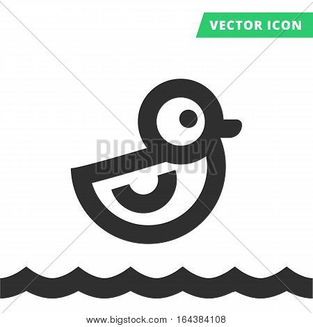 Duck toy vector icon, black silhouette rubber duck sign