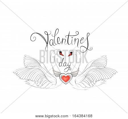 Birds in love with winged red heart decoration and handwritten lettering St Valentine's day. Couple of swans line art sketch. Two love hearts concept illustration.