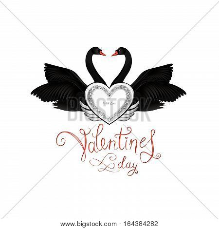 Birds in love with winged silver heart decoration and handwritten lettering St Valentine's day. Couple of swans silhouette. Two love hearts concept illustration.