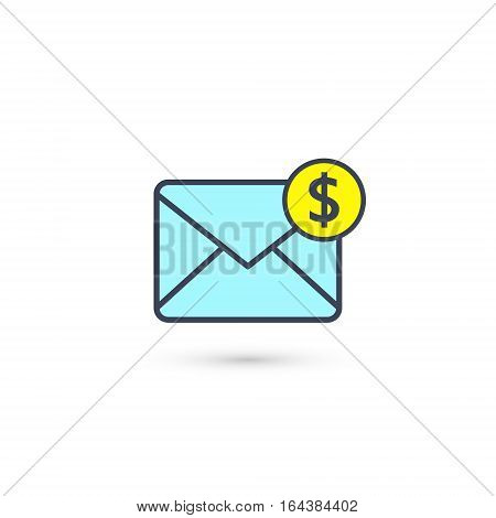 Envelope and coin business icon. Vector isolated illustration of business message.