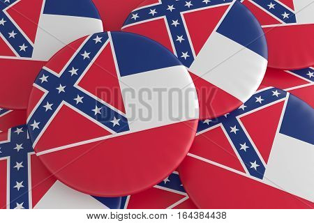 US State Buttons: Pile of Mississippi Flag Badges 3d illustration