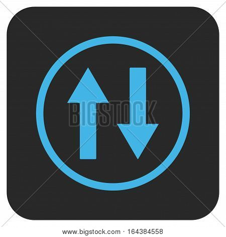 Vertical Flip Arrows glyph icon. Image style is a flat icon symbol on a rounded square button blue and gray colors.