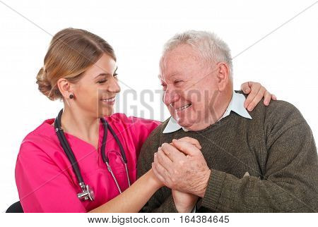 Picture of a smiling young doctor with her patient - isolated background