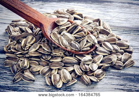 Sunflower seeds with wooden spoon on a wooden board.