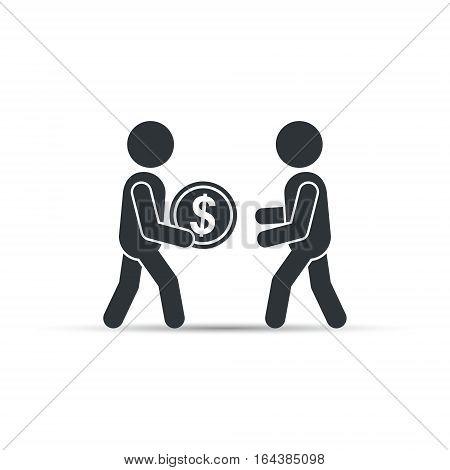 Man giving money coin, vector business concept illustration.