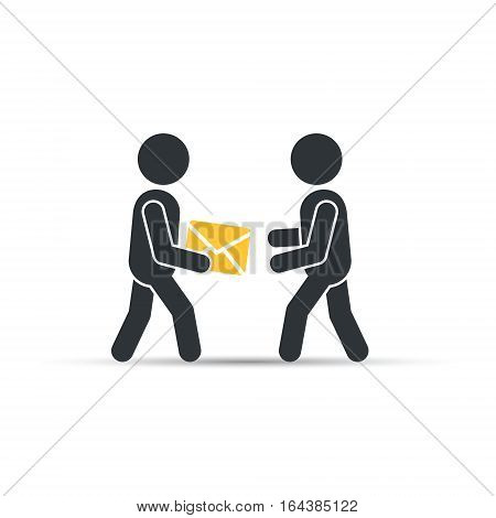 Postman giving envelope post, vector simple isolated illustration.