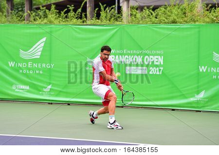BANGKOK - JANUARY 08 : Janko Tipsarevic of Serbia in Wind Energy Holding Bangkok Open 2017 (ATP Challenger Tour) at Rama Gardens Hotel on January 08 2017 in Bangkok Thailand.
