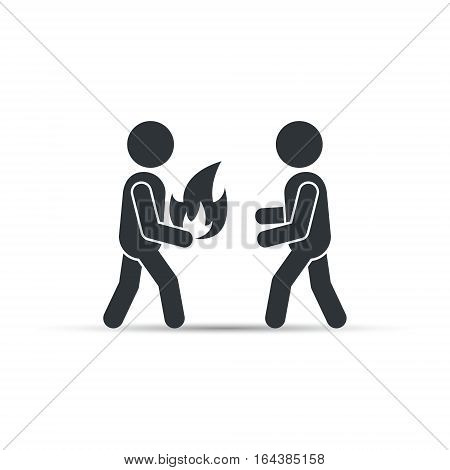 Man giving fire icon, vector concept. People enthusiasm isolated concept.