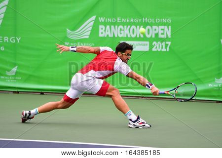 BANGKOK - JANUARY 08 : Janko Tipsarevic of Serbia winner of Wind Energy Holding Bangkok Open 2017 (ATP Challenger Tour) at Rama Gardens Hotel on January 08 2017 in Bangkok Thailand.