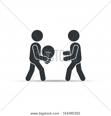 Man gives the other person an idea light bulb, vector simple business concept illustration.