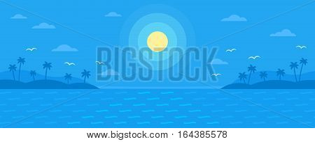 Summer blue flat vector background, monochrome bright nature sea view with ocean waves, palm trees, sunset, clouds and seagulls silhouettes, simple summer recreation template for teasers or banners.
