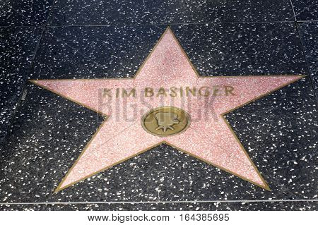 LOS ANGELES CALIFORNIA USA- JUN 01 2015 - kim bassinger's star at the Hollywood's Walk of Fame
