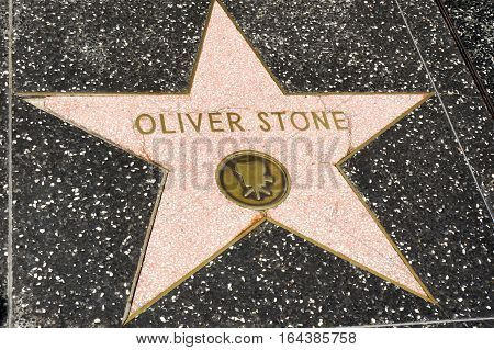 LOS ANGELES CALIFORNIA USA- JUN 01 2015 - oliver stone's star at the Hollywood's Walk of Fame