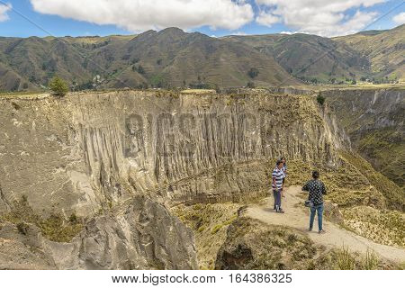 LATACUNGA, ECUADOR, FEBRAURY - 2016 - Countryside scene of valley surrounded by andes range mountains in Latacunga district Ecuador South America