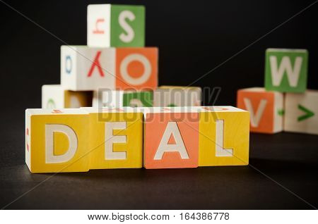 Deal Word With Colorful Blocks.