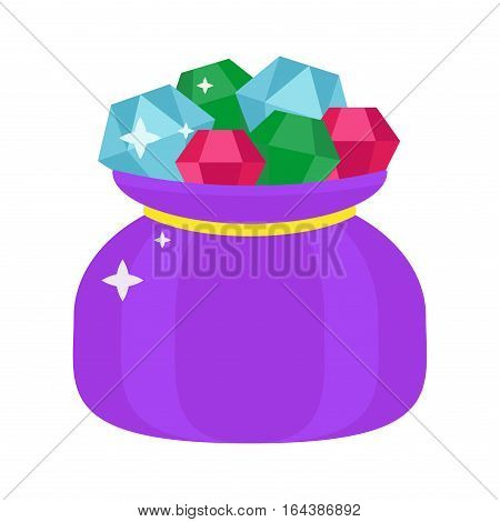 Jewelry stone expensive decoration treasure shape. Lot of different colourful gemstones in fashion bag. Vector diamond crystal glass rich brilliant.