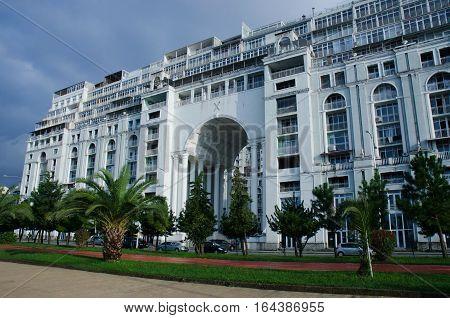 BATUMI, ADJARA ,GEORGIA - OCTOBER 212016: Modern building Magnolia hotel complex at Black Sea coastline in the center of Batumi.It is biggest complex in Georgia