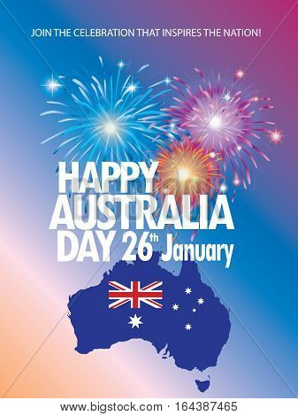 australia day 26 january inscription poster with australia map and flag stars and fireworks