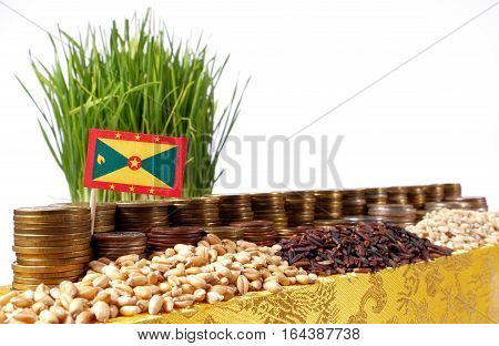 Grenada Flag Waving With Stack Of Money Coins And Piles Of Wheat And Rice Seeds