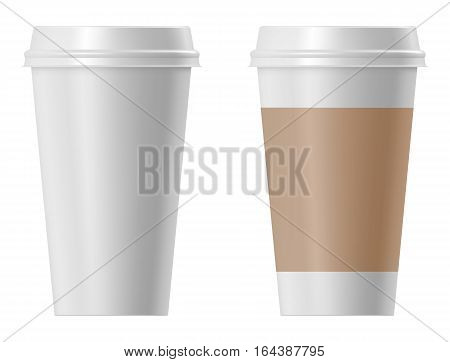 Paper coffee cup isolated on white background