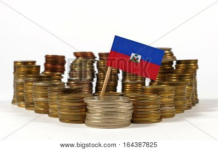 Haiti Flag Waving With Stack Of Money Coins