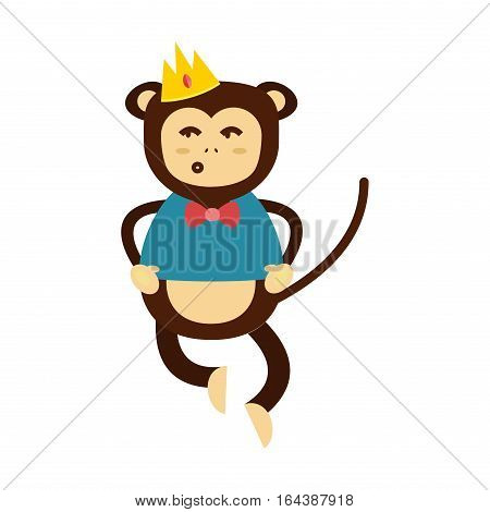 Happy cartoon vector monkey dancing party birthday. Jungle animals cartoon flat style. Chimpanzee nature funny character playful primate.