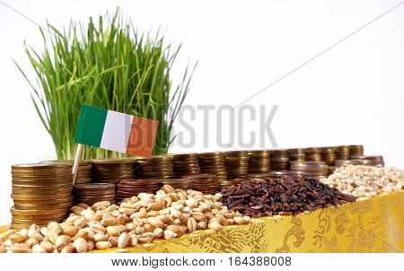 Ireland Flag Waving With Stack Of Money Coins And Piles Of Wheat And Rice Seeds
