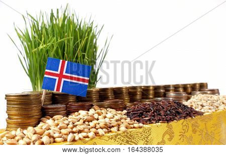 Iceland Flag Waving With Stack Of Money Coins And Piles Of Wheat And Rice Seeds