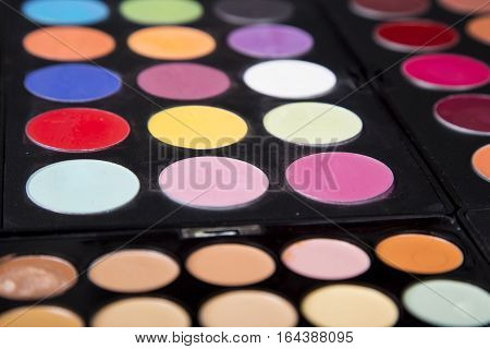 Colorful Eyeshadow Palette And Blush For Make-up Closeup