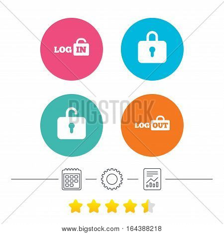 Login and Logout icons. Sign in or Sign out symbols. Lock icon. Calendar, cogwheel and report linear icons. Star vote ranking. Vector