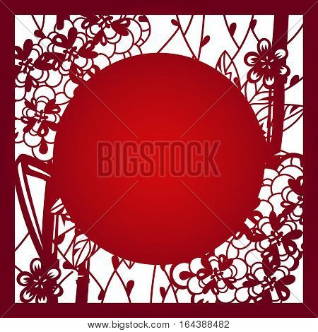 Laser cut flower pattern vector photo bigstock laser cut flower pattern for decorative panel vector template ready for printing postcards packets stopboris Images