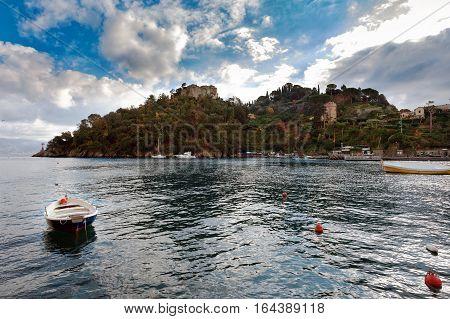 Sea bay near Portofino town in Liguria, Italy