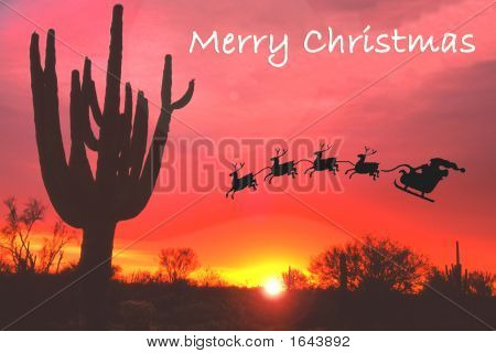 Santa Clause And Sleigh At Sunset