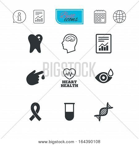 Medicine, medical health and diagnosis icons. Blood test, dna and neurology signs. Tooth, report symbols. Report document, calendar and information web icons. Vector