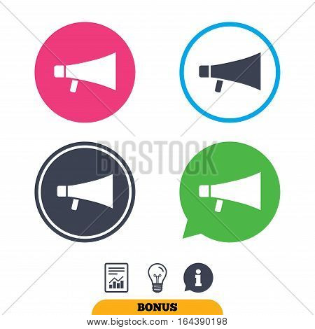 Megaphone sign icon. Loudspeaker symbol. Report document, information sign and light bulb icons. Vector