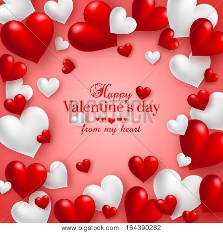 Realistic floating 3D Valentine hearts red background with happy Valentines day greetings. Vector Illustration.