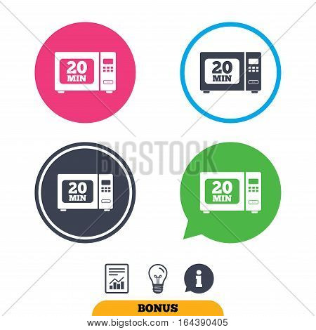 Cook in microwave oven sign icon. Heat 20 minutes. Kitchen electric stove symbol. Report document, information sign and light bulb icons. Vector