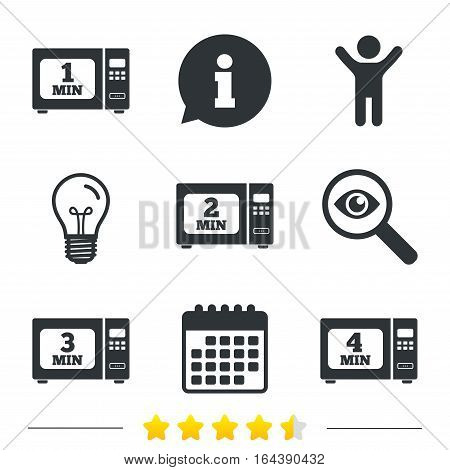 Microwave oven icons. Cook in electric stove symbols. Heat 1, 2, 3 and 4 minutes signs. Information, light bulb and calendar icons. Investigate magnifier. Vector