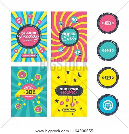 Sale website banner templates. Mobile telecommunications icons. 3G, 4G and 5G technology symbols. World globe sign. Ads promotional material. Vector