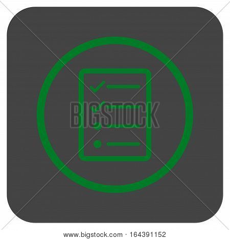 Checklist Page glyph icon. Image style is a flat icon symbol in a rounded square button green and gray colors.