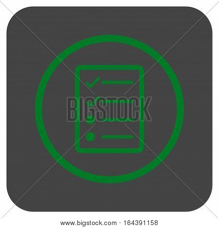 Checklist Page glyph icon. Image style is a flat icon symbol on a rounded square button green and gray colors.
