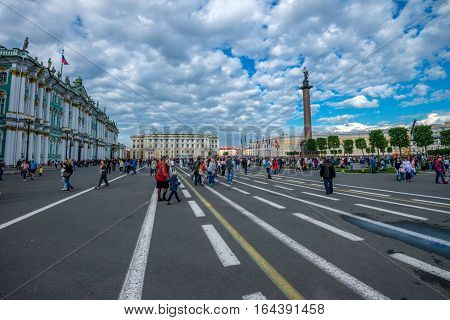 SAINT PETERSBURG - CIRCA JUNE 2015: Winter Palace in June 2015 in Saint Petersburg, Russia. This place is the official residence of the Russian monarchs and houses Hermitage, the most known Russian museum.