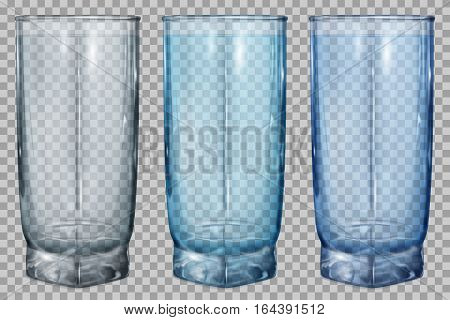 Three Transparent Glasses For Water Or Juice
