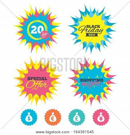 Shopping night, black friday stickers. Money bag icons. Dollar, Euro, Pound and Yen symbols. USD, EUR, GBP and JPY currency signs. Special offer. Vector