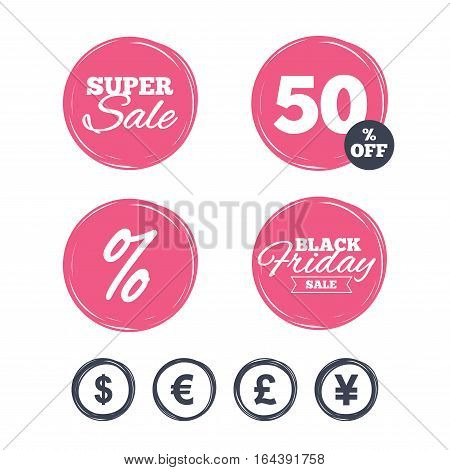 Super sale and black friday stickers. Dollar, Euro, Pound and Yen currency icons. USD, EUR, GBP and JPY money sign symbols. Shopping labels. Vector