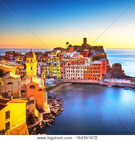 Vernazza village panoramic view on red sunset. Cinque Terre National Park Liguria Italy Europe.