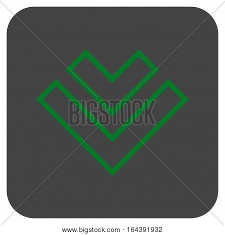 Direction Down glyph icon. Image style is a flat icon symbol inside a rounded square button green and gray colors.
