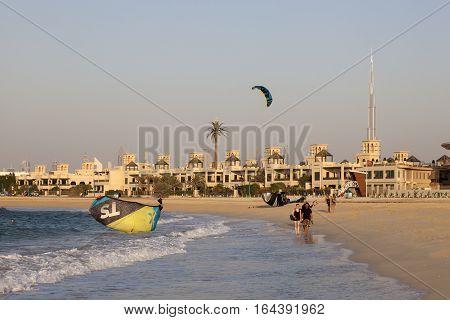 DUBAI UAE - NOV 27 2016: Kite surfer at the Jumeirah beach in Dubai United Arab Emirates
