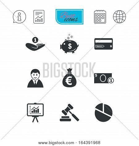 Money, cash and finance icons. Piggy bank, credit card and auction signs. Presentation, pie chart and businessman symbols. Report document, calendar and information web icons. Vector