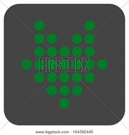 Dotted Arrow Down glyph icon. Image style is a flat icon symbol inside a rounded square button green and gray colors.